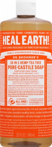 Dr. Bronner's 18-in-1 Hemp Tea Tree Pure-Castile Liquid Soap Perspective: front
