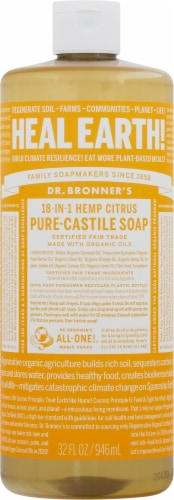 Dr. Bronner's 18-in-1 Hemp Citrus Pure-Castile Liquid Soap Perspective: front