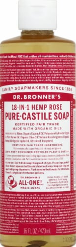 Dr. Bronner's 18-in-1 Hemp Rose Pure Castile Soap Perspective: front