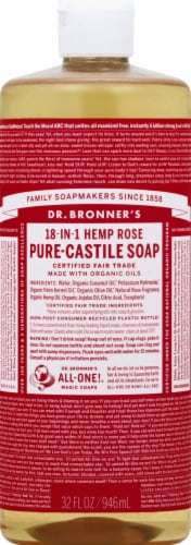 Dr. Bronner's 18-in-1 Hemp Rose Pure-Castile Liquid Soap Perspective: front