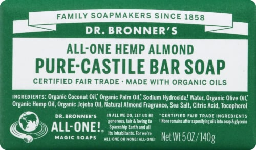 Dr. Bronner's All-One Hemp Almond Pure-Castile Bar Soap Perspective: front
