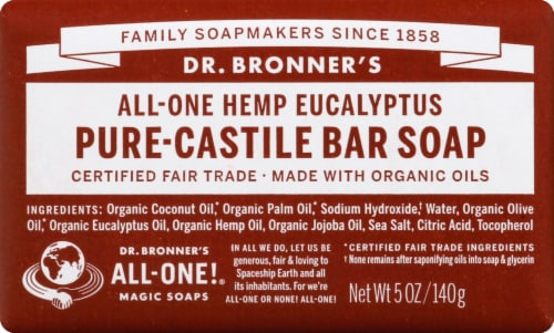 Dr. Bronner's All-One Hemp Eucalyptus Pure-Castile Bar Soap Perspective: front
