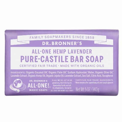 Dr. Bronner's All-One Hemp Lavender Pure-Castile Bar Soap Perspective: front