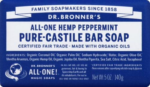 Dr. Bronner's All-One Hemp Peppermint Pure-Castile Bar Soap Perspective: front