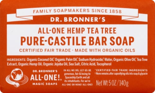 Dr. Bronner's All-One Hemp Tea Tree Pure-Castile Bar Soap Perspective: front