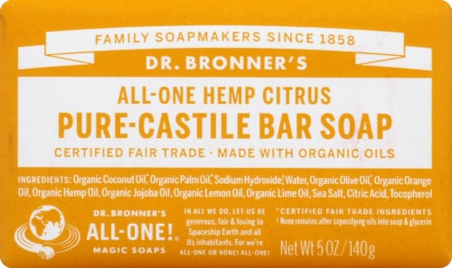 Dr. Bronner's All-One Hemp Citrus Pure-Castile Bar Soap Perspective: front