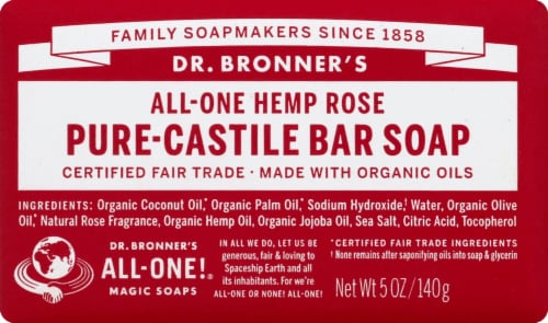 Dr. Bronner's All-One Hemp Rose Pure-Castile Bar Soap Perspective: front