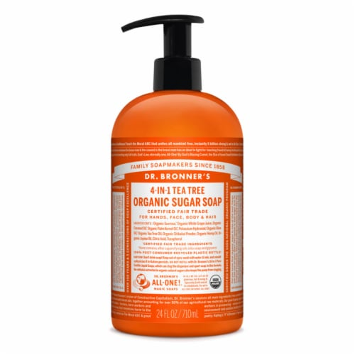 Dr. Bronner's Organic Tea Tree Scent Sugar Soap 24 oz. - Case Of: 12; Perspective: front