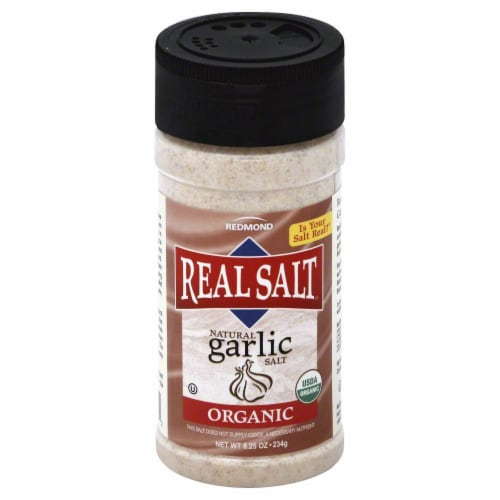 Redmond Real Salt Natural Organic Garlic Salt Perspective: front