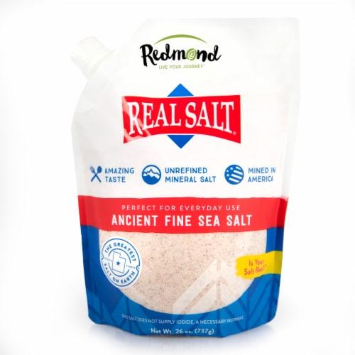 Redmond Real Salt Nature's First Fine Sea Salt Perspective: front