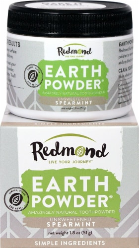 Redmond Earthpowder Unsweetened Spearmint Natural Toothpowder Perspective: front