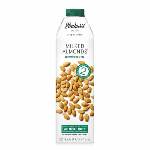 Elmhurst Milked Unsweetened Almond Beverage Perspective: front