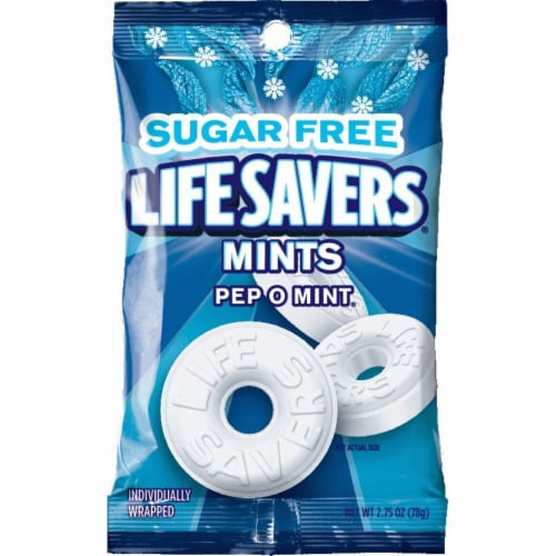 LIFE SAVERS Pep O Mint Sugar Free Breath Mints Hard Candy Perspective: front