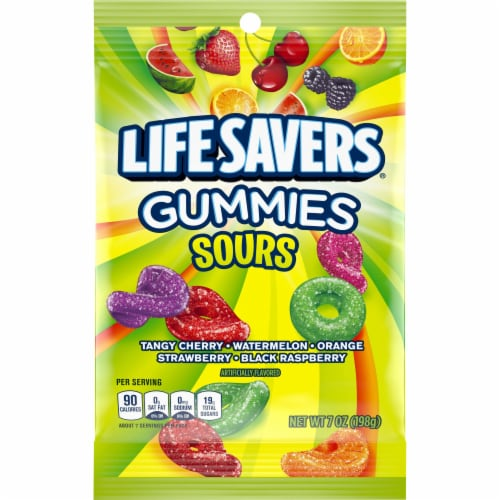 Life Savers Sours Gummies Candy Bag Perspective: front