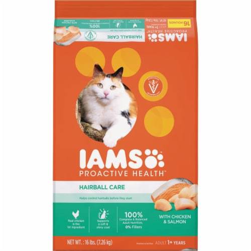 Iams 16# ProActive Health Hairball Care Chicken Cat Food 111272 Perspective: front