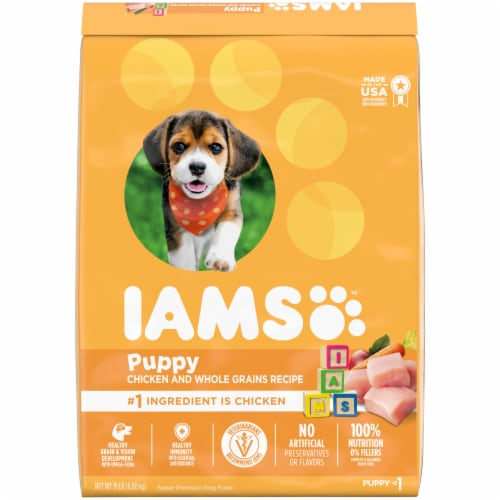 IAMS ProActive Health Smart Chicken & Whole Grains Dry Puppy Food Perspective: front