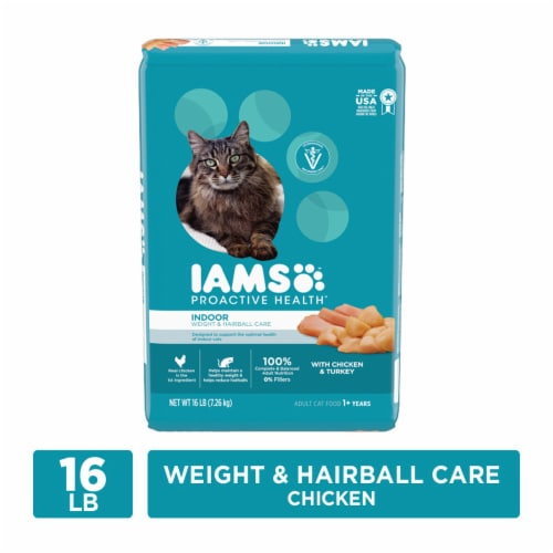 IAMS ProActive Health Indoor Weight & Hairball Care with Chicken & Turkey Adult Dry Cat Food Perspective: front