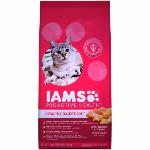 IAMS ProActive Health Healthy Digestion with Chicken & Turkey Adult Cat Food Perspective: front