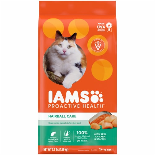 IAMS Proactive Health Hairball Care with Chicken & Salmon Adult Cat Food Perspective: front