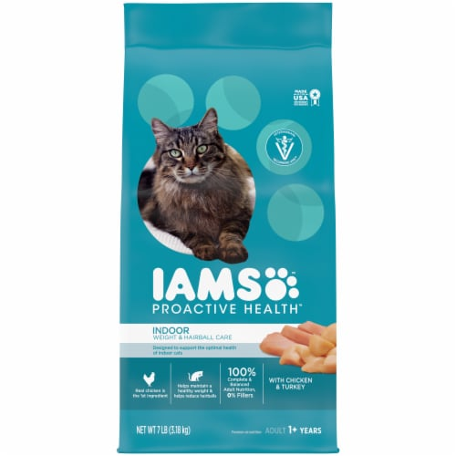 IAMS ProActive Health Indoor Weight & Hairball Care Chicken & Turkey Adult Cat Food Perspective: front