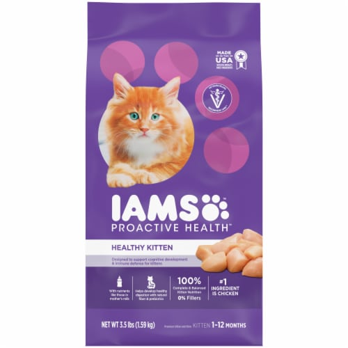 IAMS ProActive Health Healthy Kitten with Chicken Dry Kitten Food Perspective: front