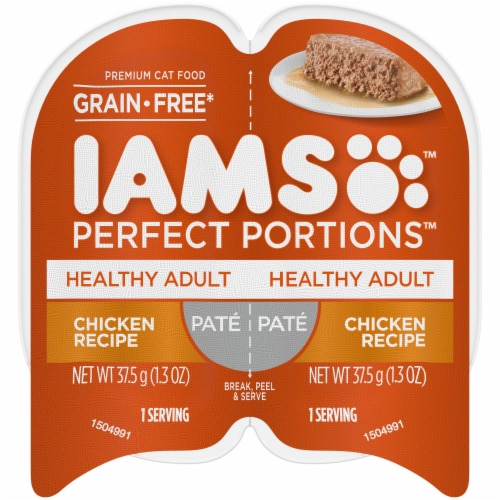 IAMS Perfect Portions Grain Free Pate Chicken Recipe Adult Wet Cat Food Twin Pack Perspective: front