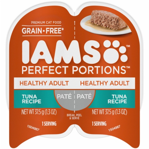IAMS Perfect Portions Grain Free Pate Tuna Recipe Adult Wet Cat Food Twin Pack Perspective: front