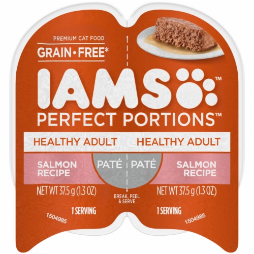 IAMS Perfect Portions Grain Free Pate Salmon Recipe Adult Wet Cat Food Twin Pack Perspective: front