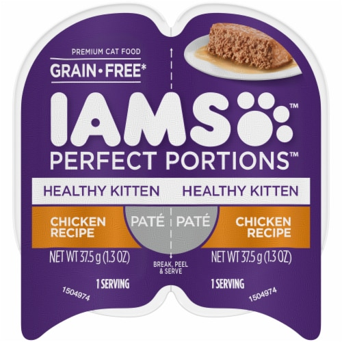 IAMS Perfect Portions Grain Free Pate Chicken Recipe Kitten Wet Food Twin Pack Perspective: front