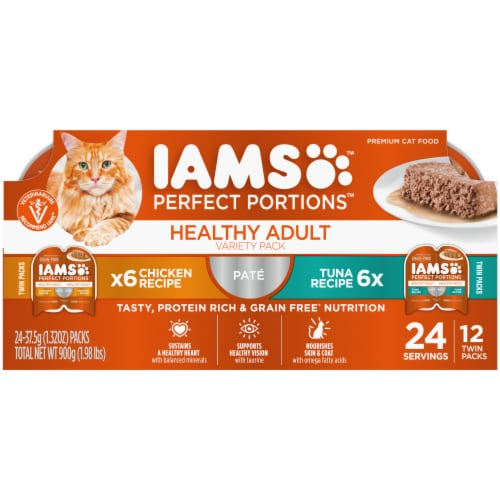 IAMS Perfect Portions Grain Free Chicken and Tuna Pate Twin Packs Adult Wet Cat Food Variety Pack Perspective: front