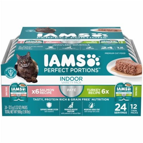 IAMS Perfect Portions Salmon & Turkey Pate Indoor Wet Cat Food Perspective: front