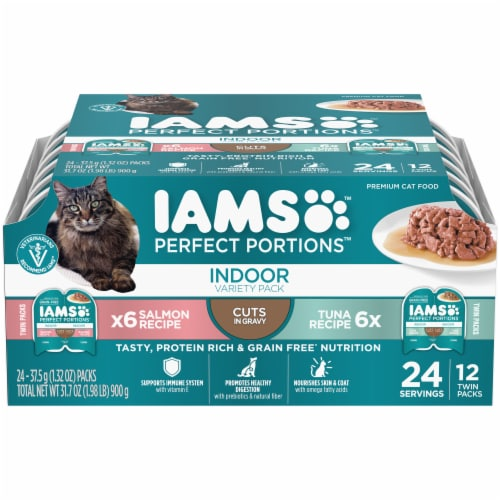 IAMS Perfect Portions Salmon Recipe & Tuna Recipe Indoor Wet Cat Food Variety Pack Perspective: front