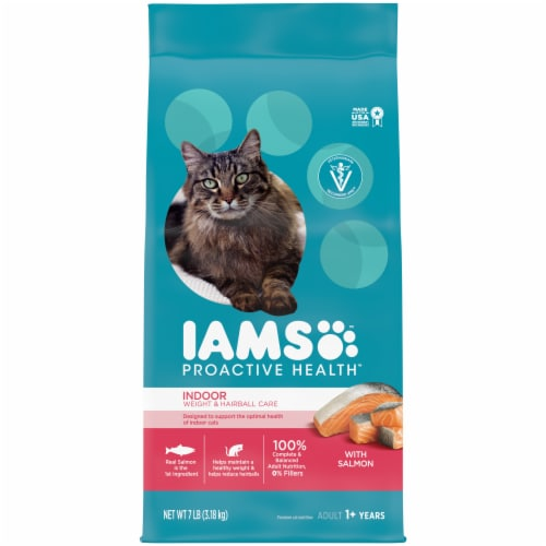 IAMS Proactive Health Salmon Indoor Weight & Hairball Care Dry Cat Food Perspective: front