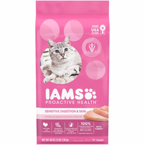 IAMS Proactive Health Sensitive Digestion & Skin with Turkey Dry Adult Cat Food Perspective: front