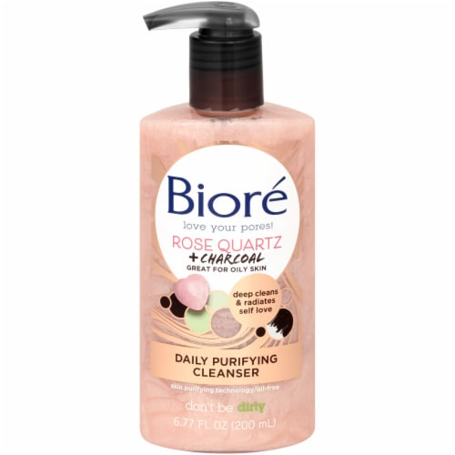 Biore Rose Quartz + Charcoal Daily Purifying Cleanser Perspective: front