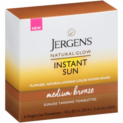 Jergens Natural Glow Instant Sun Medium Bronze Suness Tanning Towelettes Perspective: front