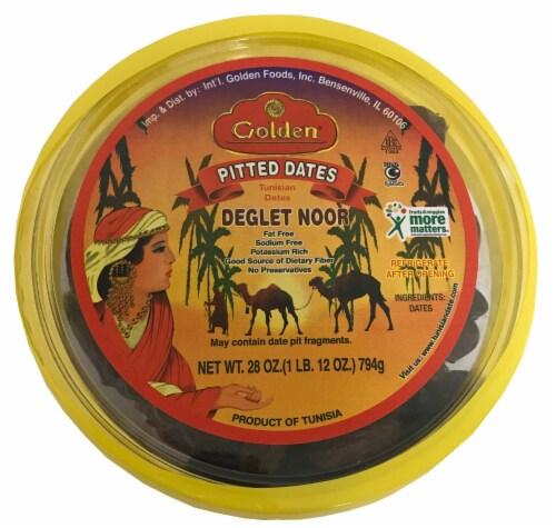 Golden Deglet Noor Pitted Dates Perspective: front