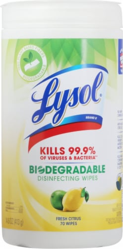 Lysol Plant-Based Fresh Citrus Scent Disinfecting Wipes Perspective: front