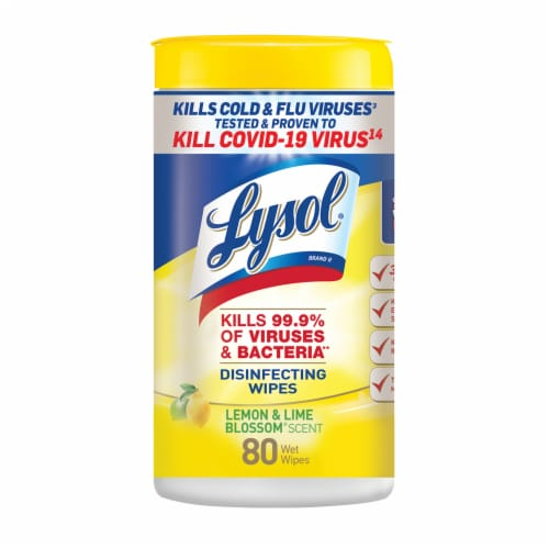 Lysol Lemon & Lime Blossom Disinfecting Wipes Perspective: front