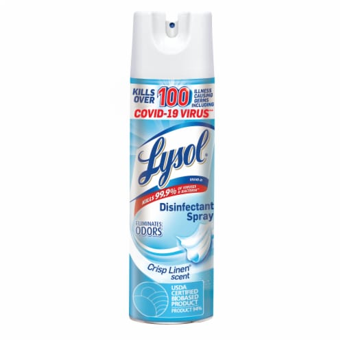 Lysol Crisp Linen Scent Disinfectant Spray Perspective: front