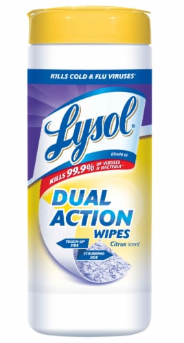 Lysol Dual Action Citrus Scent Sanitizing Wipes Perspective: front