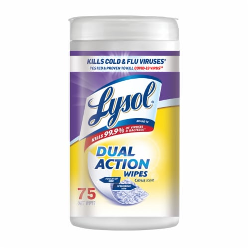 Lysol Dual Action Citrus Scent Wipes Perspective: front