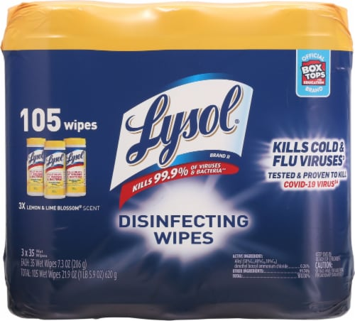 Lysol® Lemon & Lime Blossom Scent Disinfecting Wipes Perspective: front