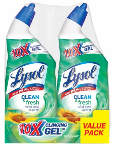 Lysol Clean & Fresh Country Scent Toilet Bowl Cleaner Twin Pack Perspective: front