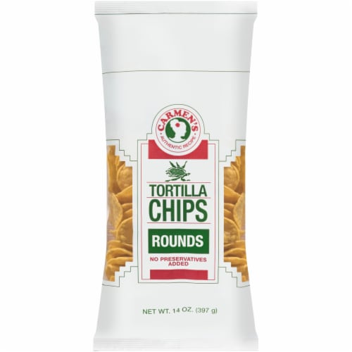 Carmen's Rounds Tortilla Chips Perspective: front