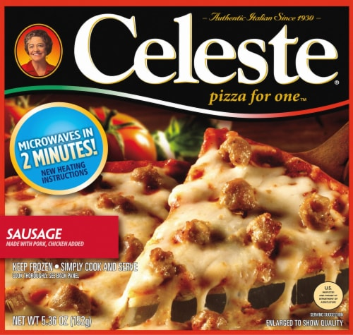 Celeste Sausage Pizza for One Perspective: front
