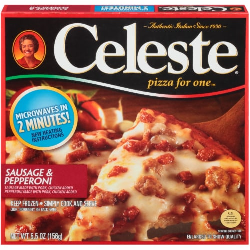 Celeste Sausage & Pepperoni Pizza for One Perspective: front