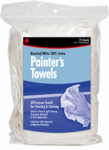 Buffalo™ Bleached Cotton Painter's Towels - 25 Pack - White Perspective: front