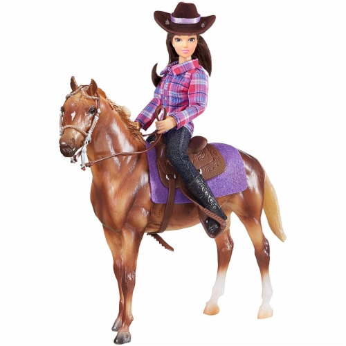 Breyer Freedom Series Western Horse and Rider Doll Kids Toy Set and Accessories Perspective: front