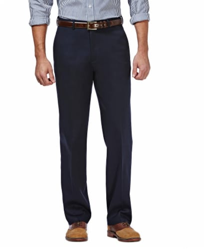 Haggar Men's Premium Classic Fit Casual Pants - Dark Navy Perspective: front